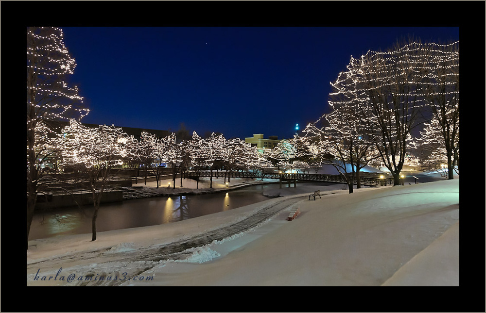 Gene-Leahy-Mall with winter holiday lighting