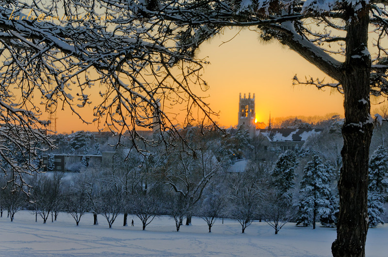 Memorial Park sunset  and church steeple in Omaha