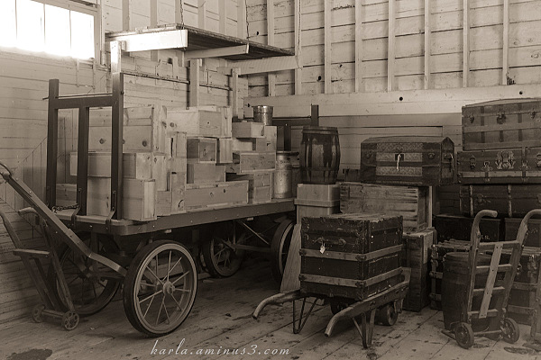 Baggage room at the train depot at Stuhr Museum