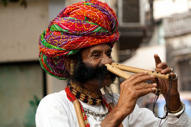 A Flute player from Rajasthan