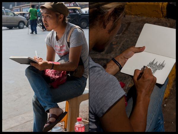 An Artist sketching CST station!