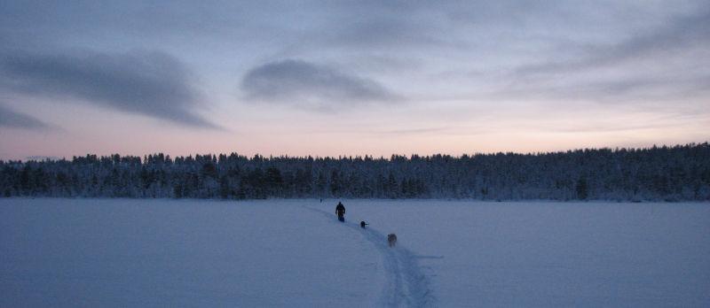 Crossing the lake.