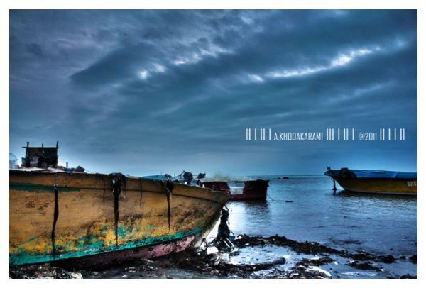 sea cloud bushehr beach cloudyday rain iran boat H