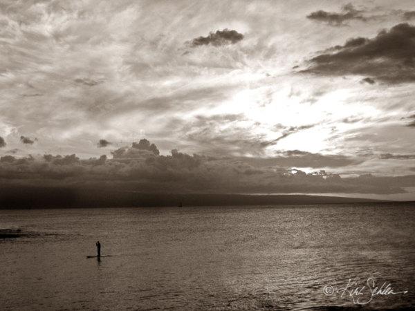 Stand up paddler/sunset-Maui