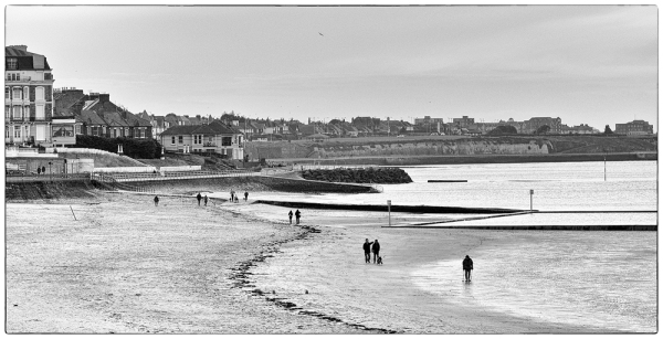 black and white seascape margate