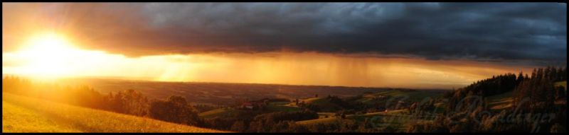 panorama of rainy landscape in Austria