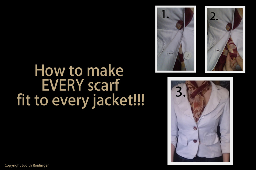 fitting a scarf to a jacket