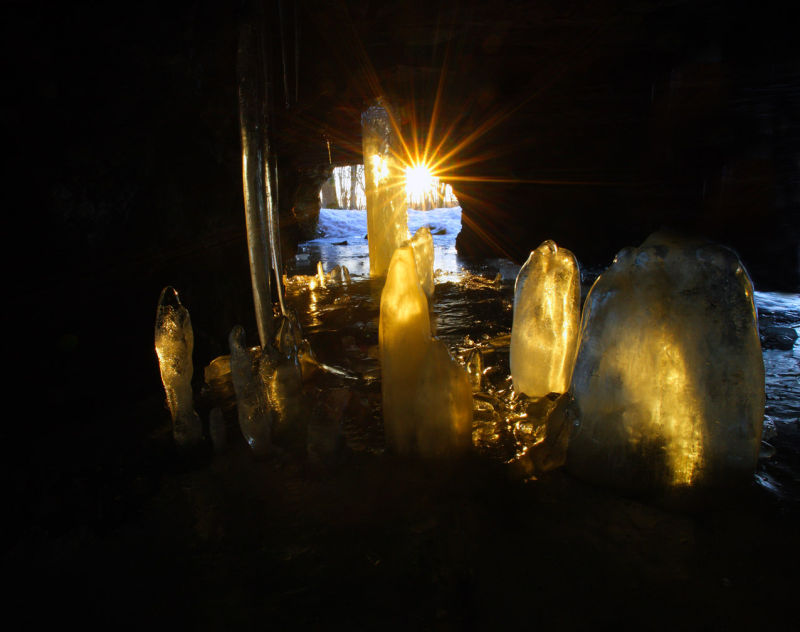Ice cave evening light