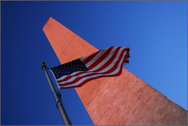 Washington Monument and Flag