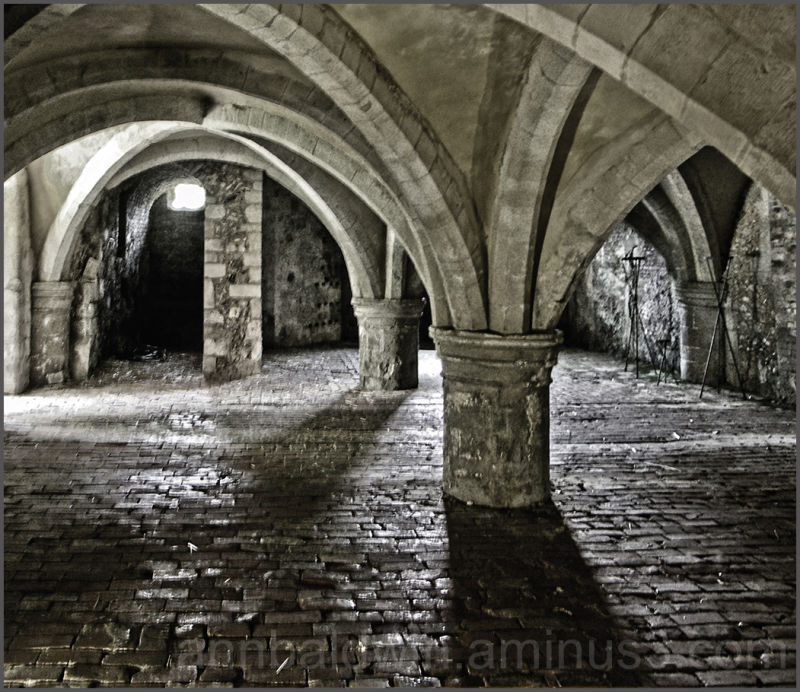 Underground crypt below Mottisfont Abbey, dark