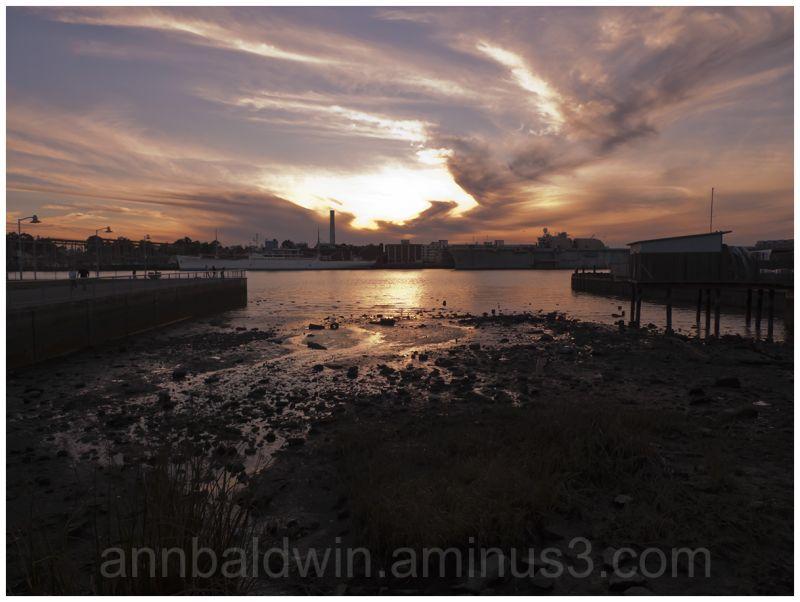 Sunset over Mare Island docks