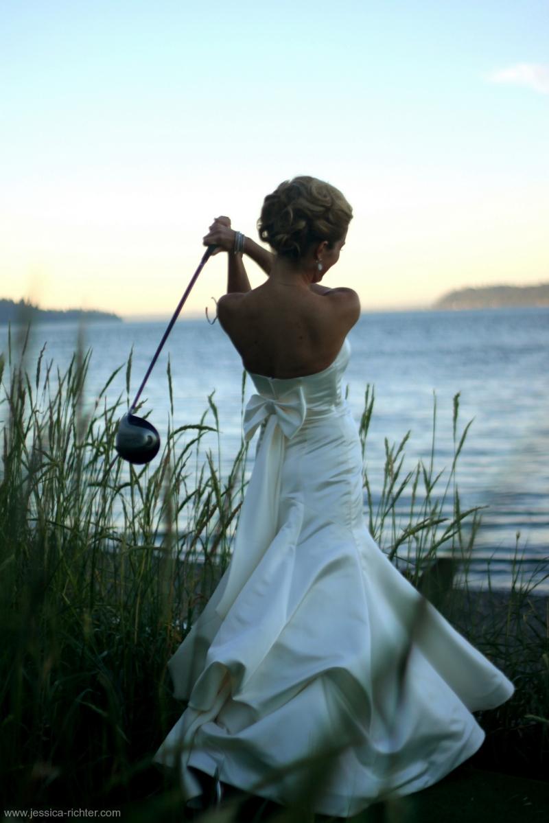 bride golfing