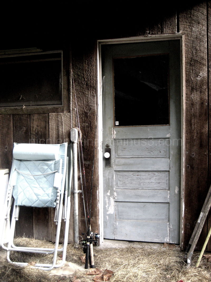 fishing shack with blue door, melrose oregon