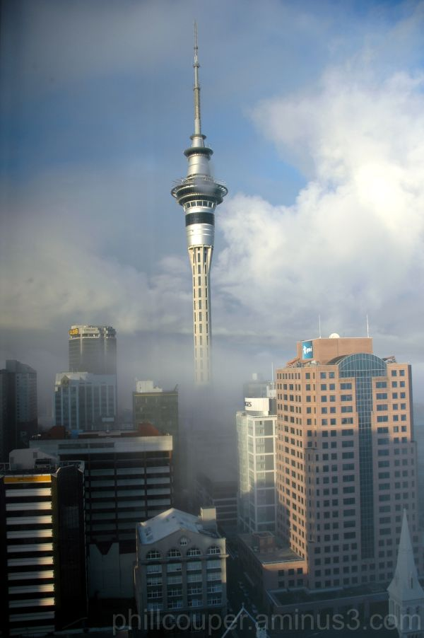 Auckland Skytower in fog