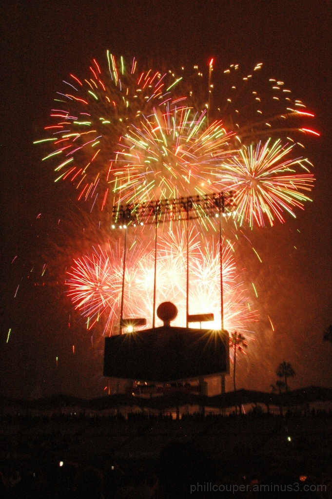 Fireworks over LA Dodgers statdium 4th July 2012