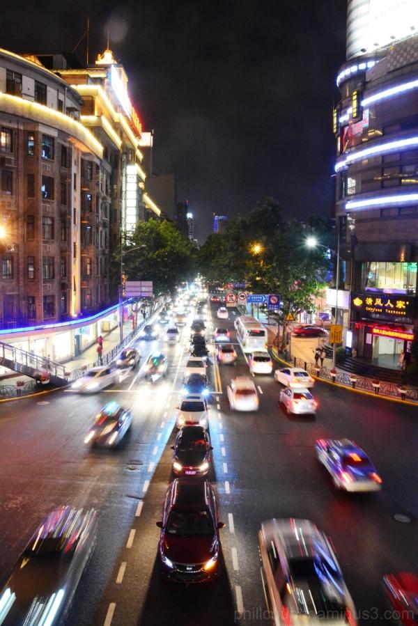 Cars waiting their turn at Night in Shanghai