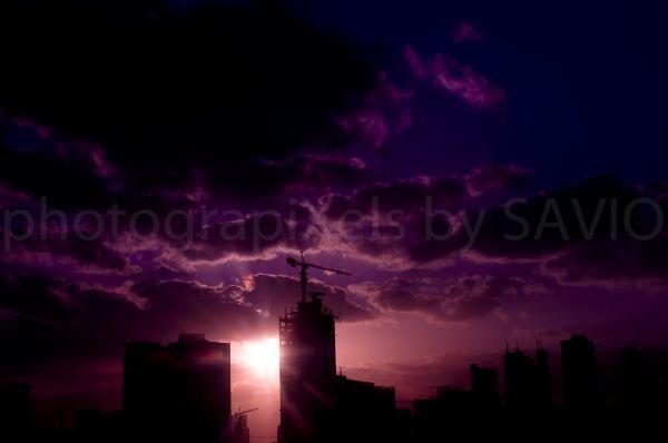 ubai,skyline,sunset,purple,Sheikh Zayed road
