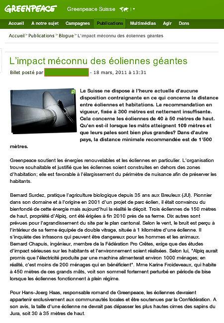 Greenpeace et les éoliennes industrielles...