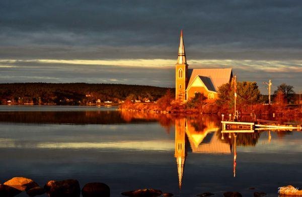 Sunrise, church on The LaHave River