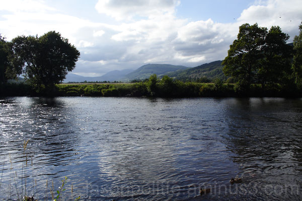 Scottish Highlands from the River Tay in Aberfeldy