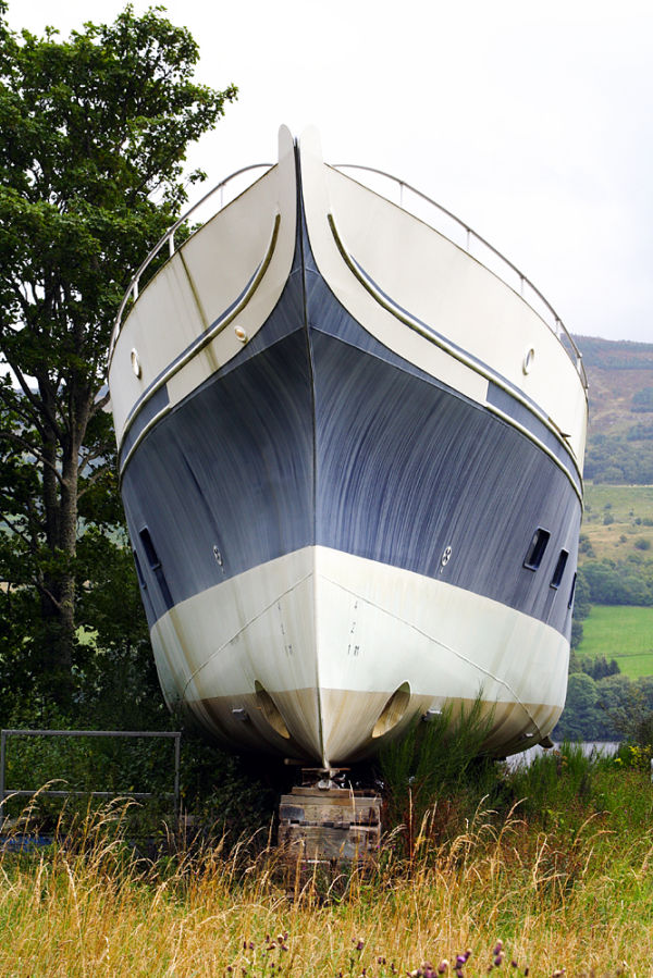 Unfinished abandoned boat on Loch Tay