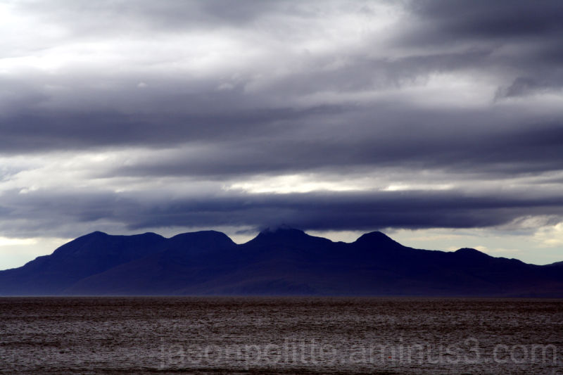 Isle of Rum as seen from Mallaig Scotland