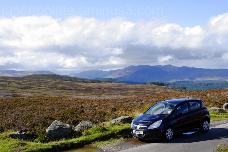 Vauxhall Corsa on Glen Quaich Road in Scotland