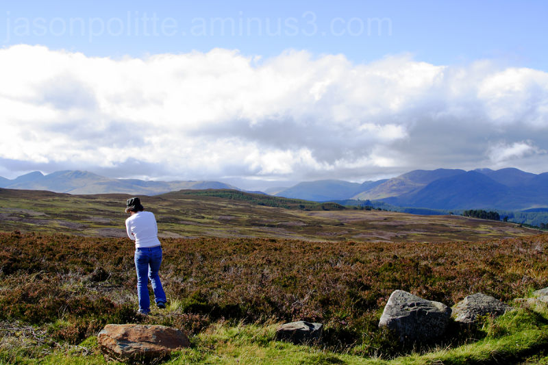 Karen enjoys the view of the Scottish Highlands