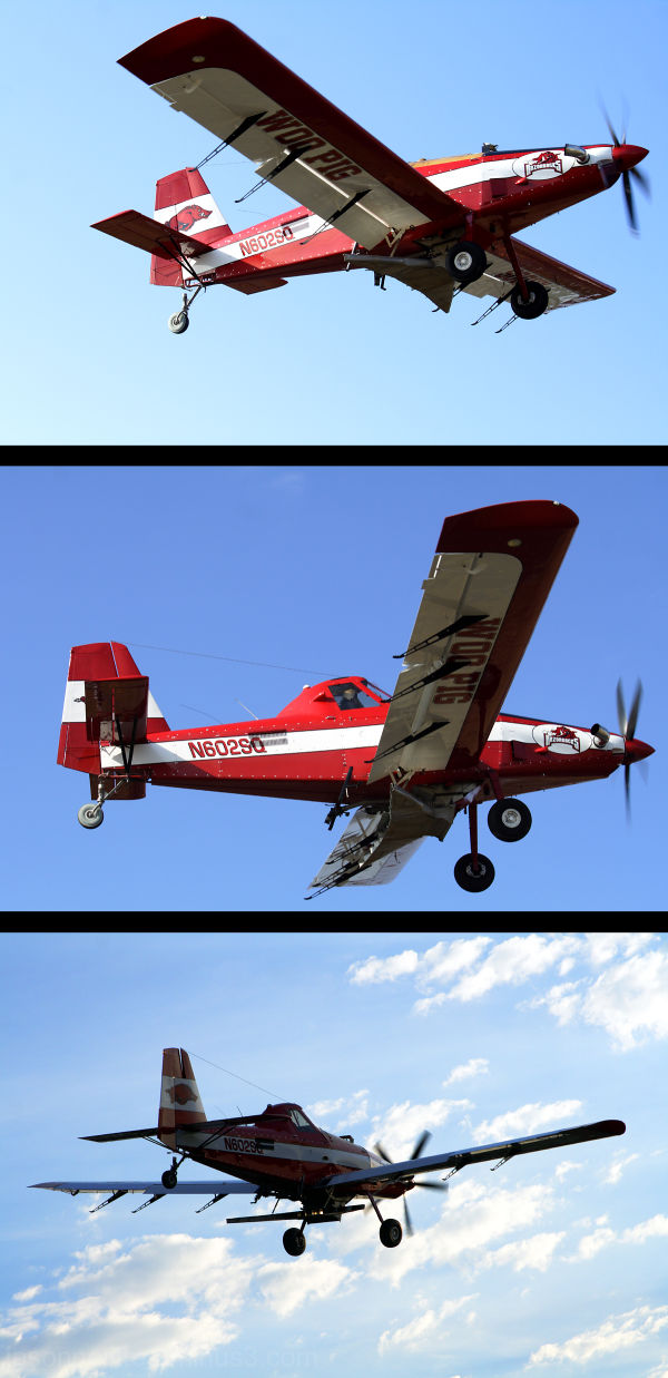 Arkansas Razorback crop duster flying the skies.