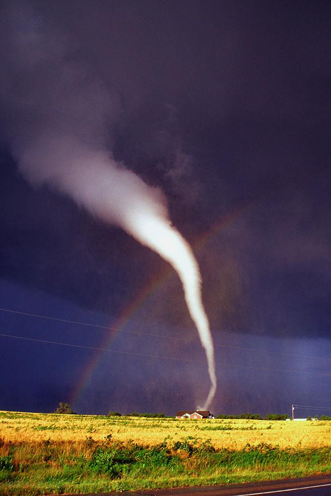 White tornado with rainbow in Mulvane, Kansas