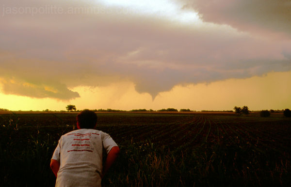 Storm chaser watches funnel near Rock, Kansas