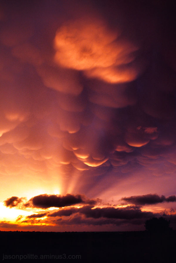 Mammatus at sunset over the Colorado landscape