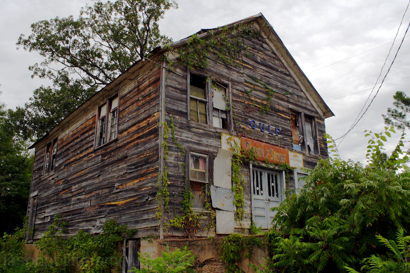 The dilapidated Saddle Store in Saddle, Arkansas