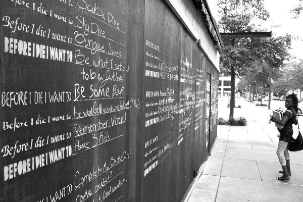 Before I die chalkboard in Little Rock with lady