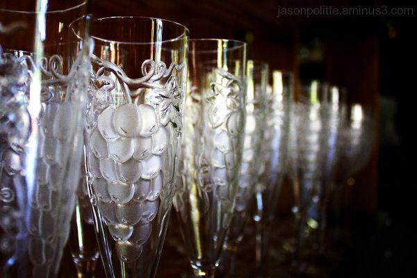 Vineyard made of wine glasses
