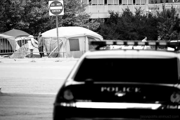 Police keep an eye on the Occupy Little Rock group