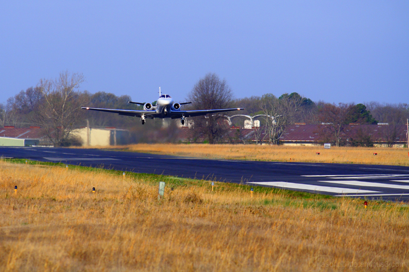 Cessna Citation taking off from Cantrell Field