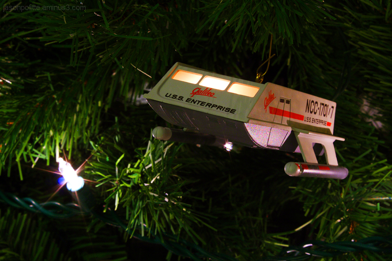 Star Trek Galileo ornament hangs from tree