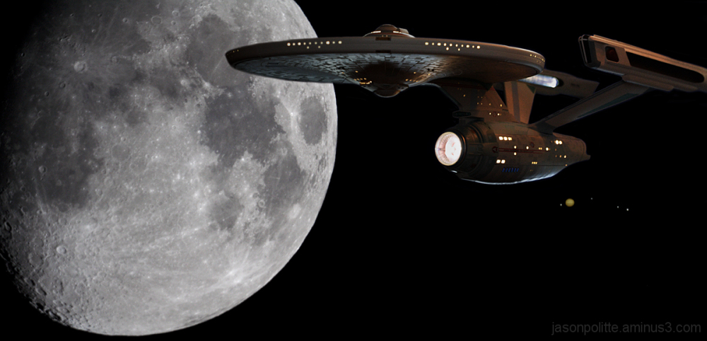 U.S.S. Enterprise in front of Moon and Jupiter