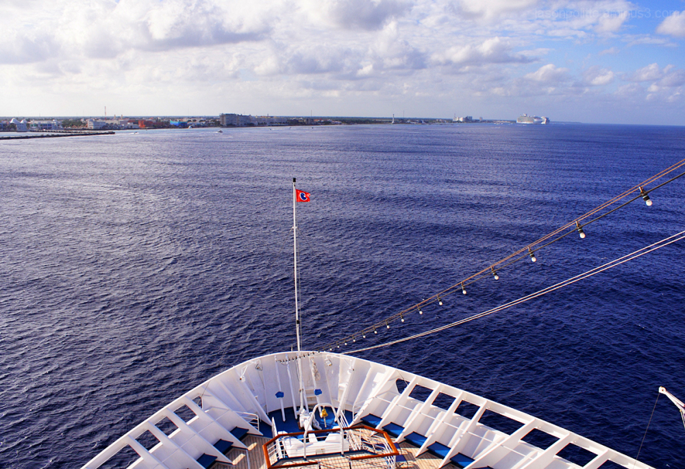Carnival Elation cruise ship approaching Cozumel