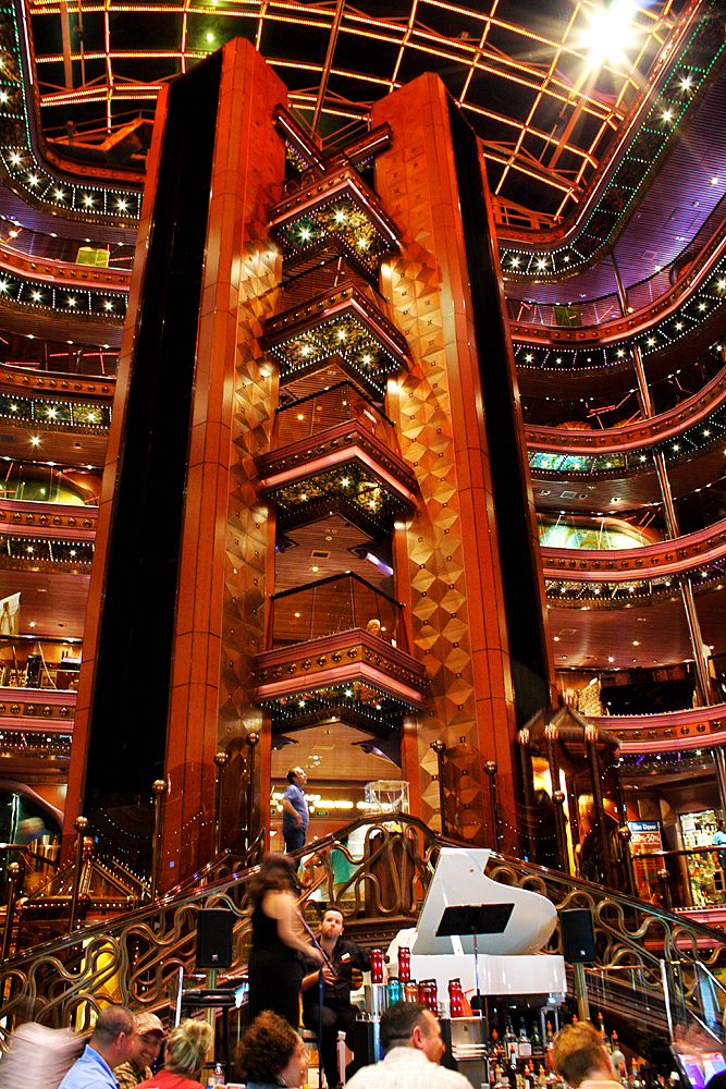 The Carnival Elation's Grand Atrium at night