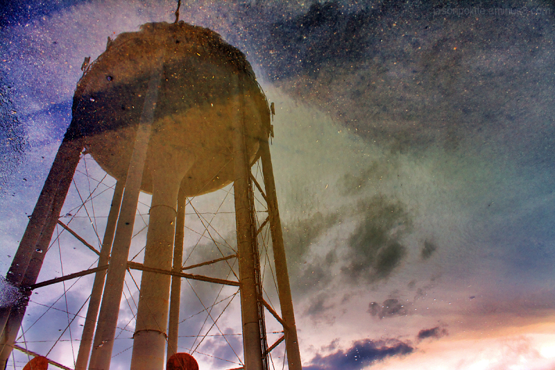 Conway's water tower reflection after storm
