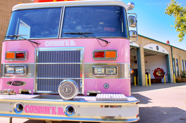 Pink firetruck for the cure