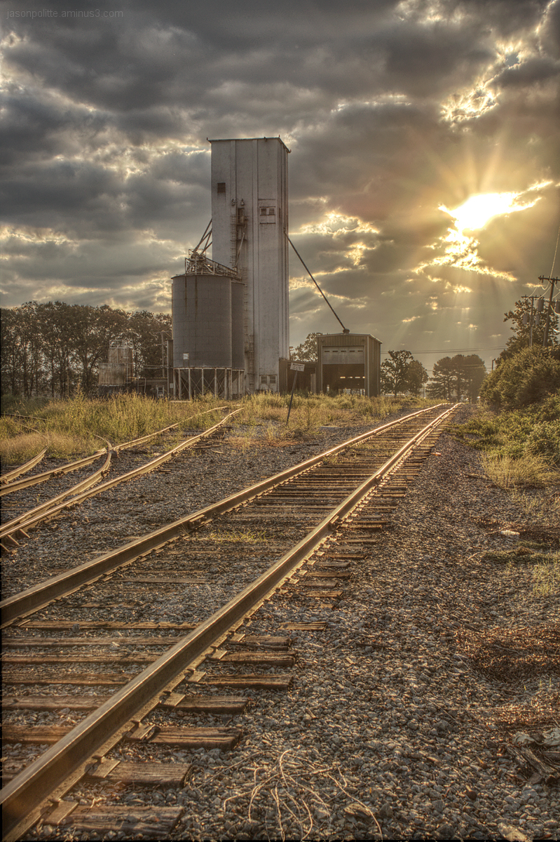 Sunrise over the railyard in Conway, Arkansas.