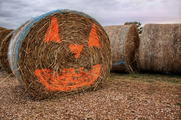 Pumpkin Jack-O-Lantern face painted on a hayroll