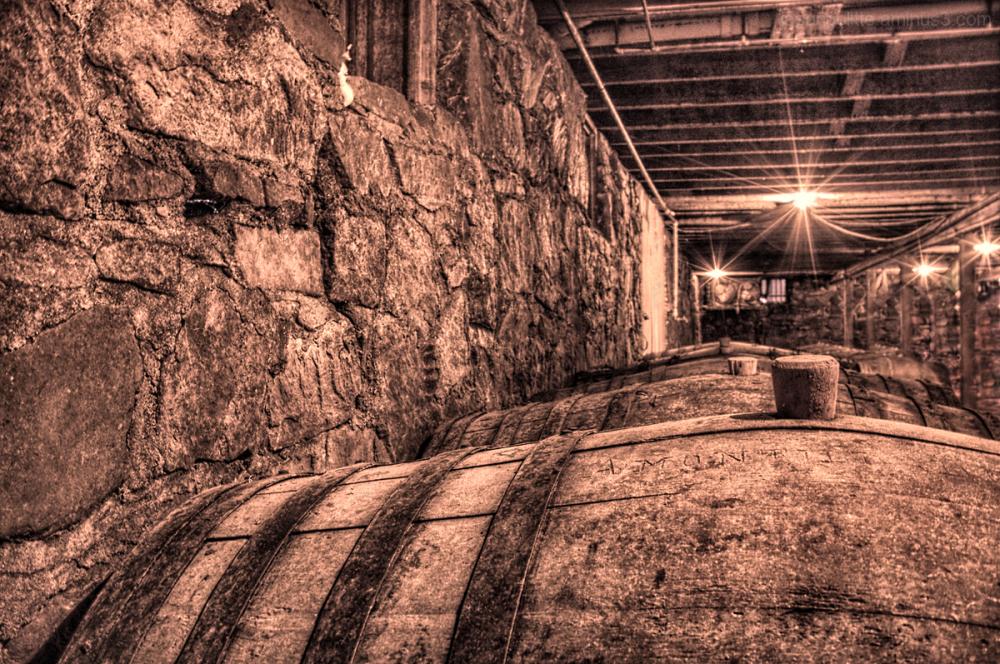 Wiederkehr winery's cellar filled with casks