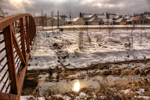 Snow covers the Village at Hendrix in Conway, AR