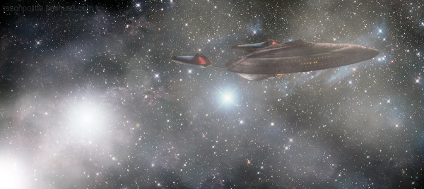 The Enterprise-E enters the Neuatral Zone.