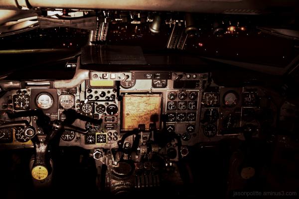 Vintage airplane cockpit on runway
