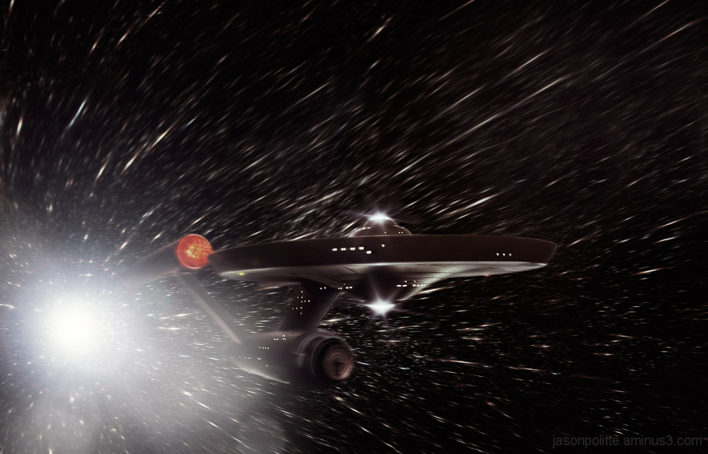 The Original USS Enterprise moves at warp speed